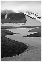 Snow is still present in early summer, Valley of Ten Thousand smokes. Katmai National Park ( black and white)