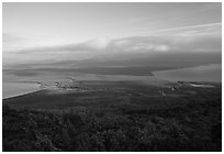 Brooks camp and river seen from Dumpling mountain in summer. Katmai National Park ( black and white)