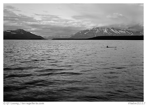 Naknek Lake at sunset with pink clouds. Katmai National Park (black and white)
