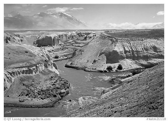 Convergence of the Lethe and Knife river, Valley of Ten Thousand smokes. Katmai National Park (black and white)