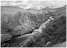 The Lethe river carved a deep gorge into the ash of the Valley of Ten Thousand smokes. Katmai National Park ( black and white)