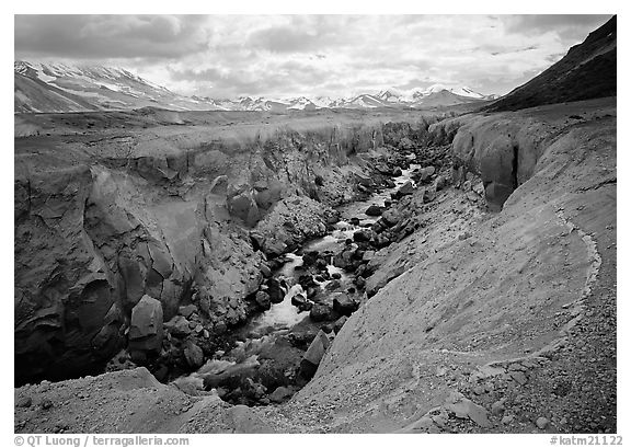 Colorful ash and Lethe River gorge,  Valley of Ten Thousand smokes. Katmai National Park (black and white)