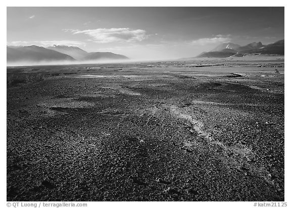 Ash-covered floor of the Valley of Ten Thousand Smokes, evening. Katmai National Park (black and white)