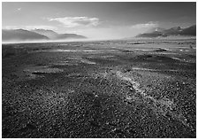 Ash-covered floor of the Valley of Ten Thousand Smokes, evening. Katmai National Park, Alaska, USA. (black and white)