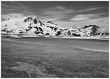 Mt Meigeck raises above the floor of the Valley of Ten Thousand Smokes. Katmai National Park, Alaska, USA. (black and white)