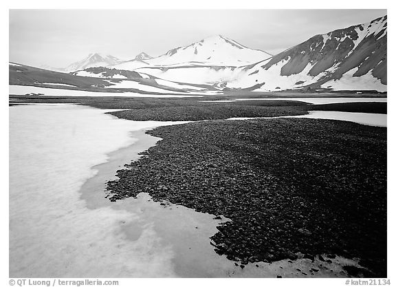 Melting snow and lichens, Valley of Ten Thousand smokes. Katmai National Park (black and white)