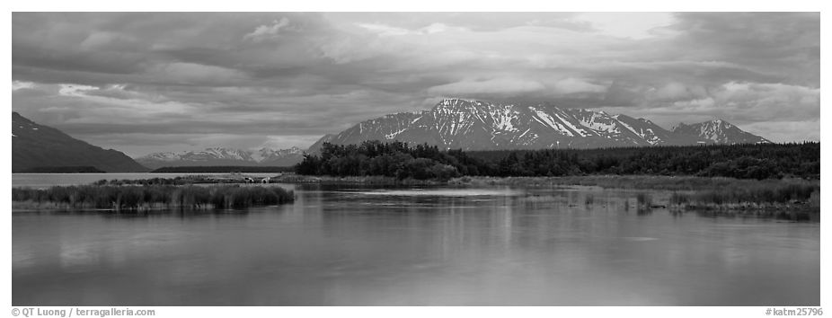 Lake and mountains at sunset. Katmai National Park (black and white)