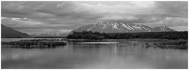 Lake and mountains at sunset. Katmai National Park (Panoramic black and white)