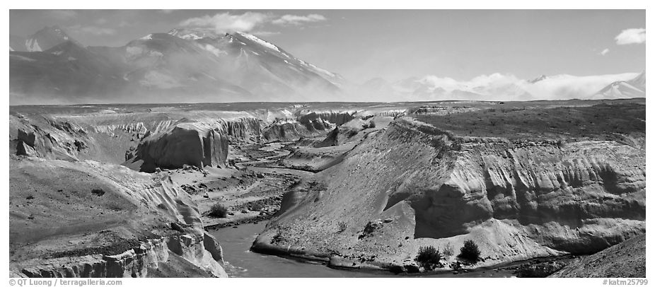 Gorge cut in volcanic ash plain, Valley of Ten Thousand Smokes. Katmai National Park (black and white)