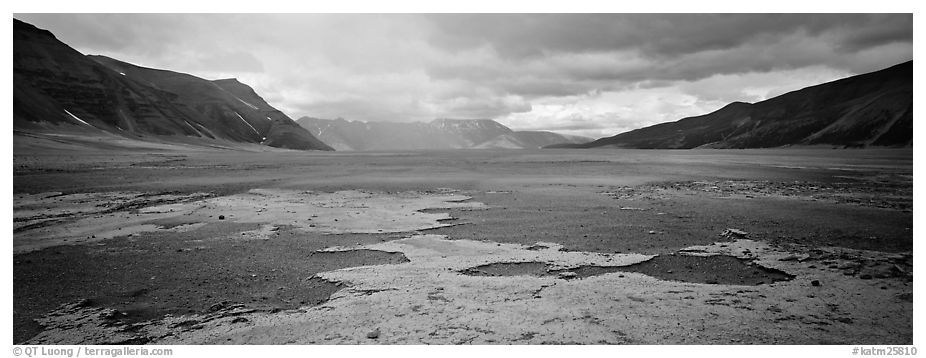 Arid ash plain landscape with colorful deposits. Katmai National Park (black and white)