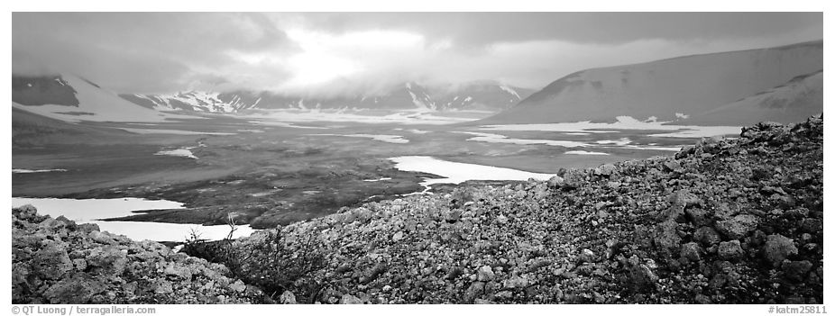 Volcanic landscape with pumice hills surrounding ash valley. Katmai National Park (black and white)