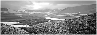Volcanic landscape with pumice hills surrounding ash valley. Katmai National Park (Panoramic black and white)
