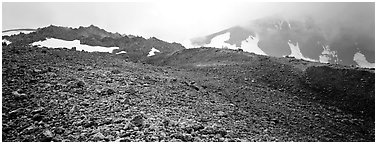 Pumice slopes and misty mountains. Katmai National Park (Panoramic black and white)