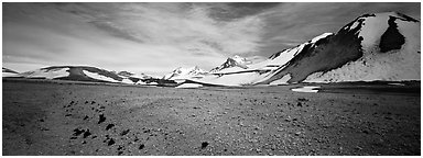 Tiny plants growing on ash floor, Valley of Ten Thousand Smoke. Katmai National Park (Panoramic black and white)