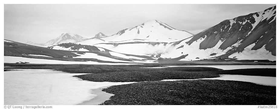 Lichens, snow patches, and snowy peaks. Katmai National Park (black and white)