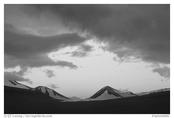 Mt Meigeck, Valley of Ten Thousand Smokes, sunset. Katmai National Park (black and white)
