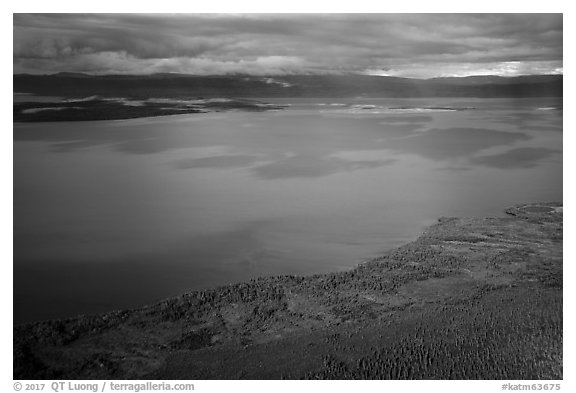 Aerial View of Naknek Lake in autumn. Katmai National Park (black and white)