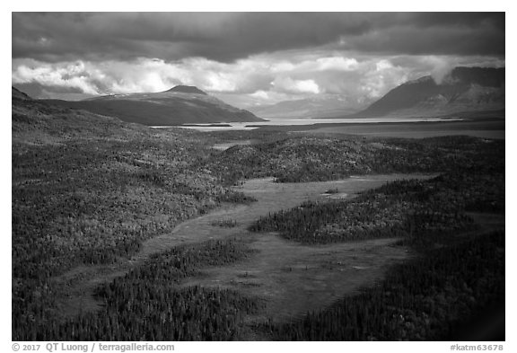 Aerial View of meadows, forest, and Naknek Lake. Katmai National Park (black and white)