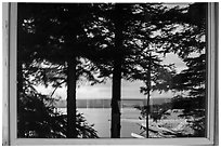 Naknek Lake, Brooks Camp Visitor Center Window Reflexion. Katmai National Park ( black and white)