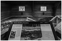 Native dwelling interpretive sign. Katmai National Park ( black and white)