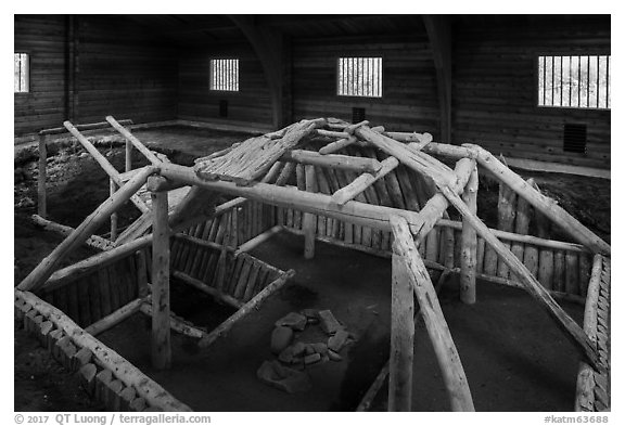 Cultural site with reconstruction of Native dwelling. Katmai National Park (black and white)