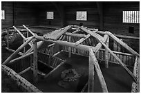 Cultural site with reconstruction of Native dwelling. Katmai National Park ( black and white)