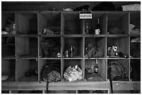 Inside food Cache, Brooks Camp. Katmai National Park ( black and white)
