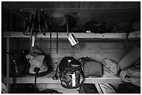Inside Gear Cache, Brooks Camp. Katmai National Park ( black and white)