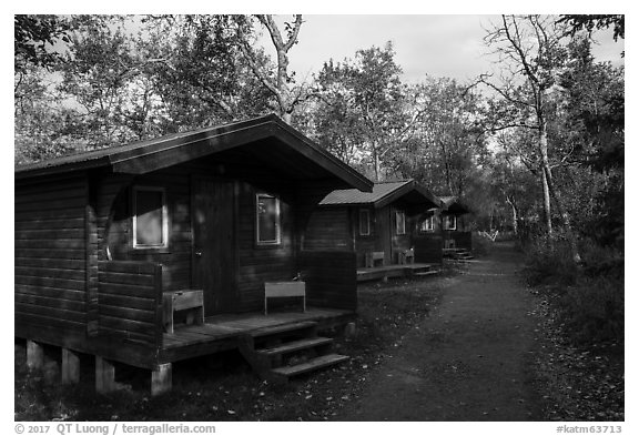 Cottages, Brooks Lodge. Katmai National Park (black and white)