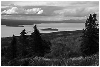 Lake Brooks from above, autumn. Katmai National Park ( black and white)