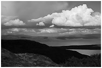 Clouds and shadows above Naknek Lake. Katmai National Park ( black and white)
