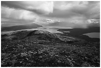 Tundra above lakes and distant rain showers. Katmai National Park ( black and white)