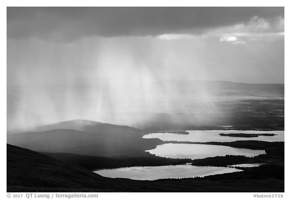Rain showers above lakes. Katmai National Park (black and white)