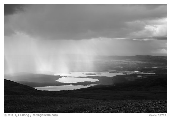 Cloud and rain over lakes. Katmai National Park (black and white)