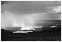 Cloud and rain over lakes. Katmai National Park ( black and white)