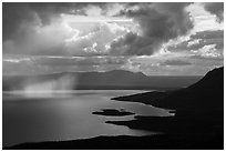 Clouds and showers above Lake Brooks. Katmai National Park ( black and white)