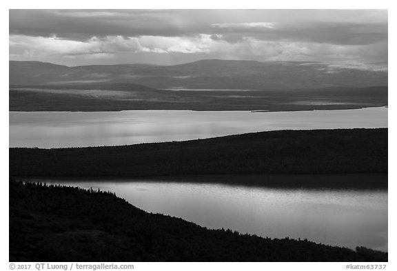 Iliuk Arm and North Arms of Naknek Lake from above. Katmai National Park (black and white)