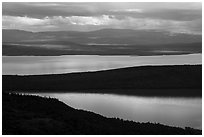 Iliuk Arm and North Arms of Naknek Lake from above. Katmai National Park ( black and white)