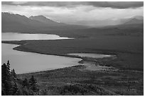 Brooks Camp and Naknek Lake from above. Katmai National Park ( black and white)