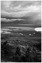 Brooks River area in autumn from above. Katmai National Park ( black and white)