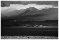 Mountains and clouds in stormy evening light. Katmai National Park ( black and white)