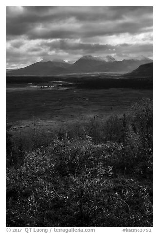 Dappled light over autumn tundra and mountains. Katmai National Park (black and white)
