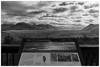 Valley of Ten Thousand Smokes intepretive sign. Katmai National Park ( black and white)