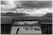 Chain of Volcanoes intepretive sign. Katmai National Park ( black and white)