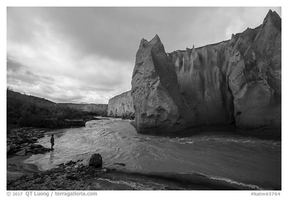 Visitor Looking, Ukak River, Valley of Ten Thousand Smokes. Katmai National Park (black and white)