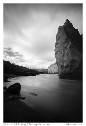 Cliffs of ash rock and Ukak River, Valley of Ten Thousand Smokes. Katmai National Park (black and white)