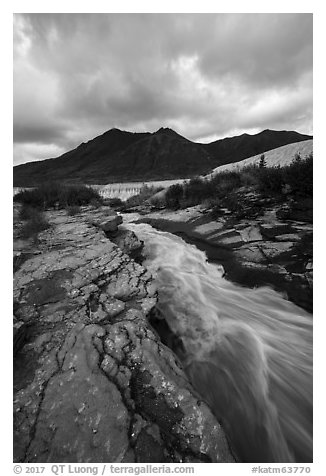 Ukak River flowing on hard rock, Valley of Ten Thousand Smokes. Katmai National Park (black and white)