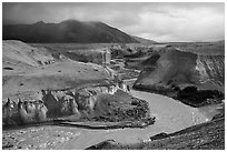 Three Forks Confluence, Valley of Ten Thousand Smokes. Katmai National Park ( black and white)