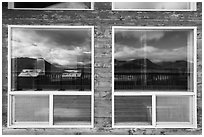 Valley of Ten Thousand Smokes Three Forks Overlook shelter window reflexion. Katmai National Park ( black and white)