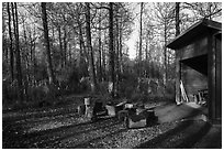 Tents, fire ring, and shelter, Brooks Camp campground. Katmai National Park ( black and white)